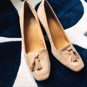 Talbots Shoes - Talbots Nude Suede Tassel Fringe Block Heel 7
